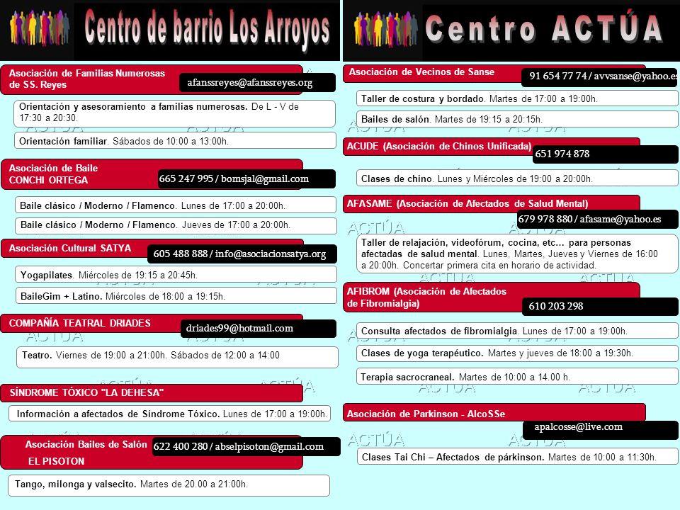 Centro ACTÚA 91 654 77 74 / avvsanse@yahoo.es