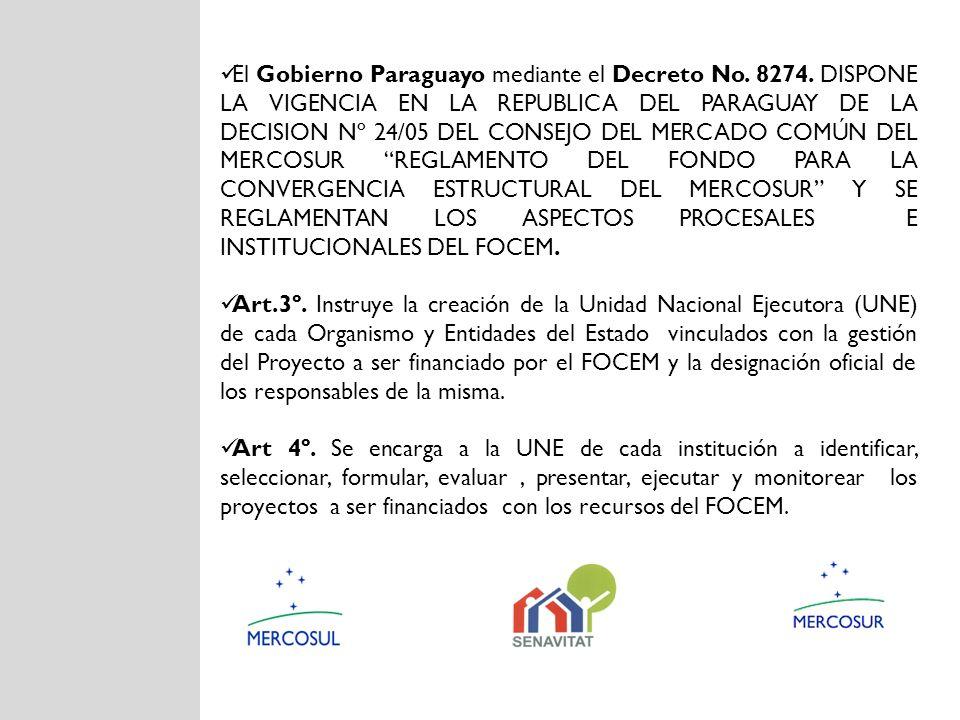 El Gobierno Paraguayo mediante el Decreto No. 8274