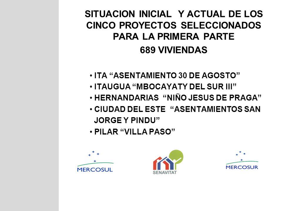SITUACION INICIAL Y ACTUAL DE LOS CINCO PROYECTOS SELECCIONADOS PARA LA PRIMERA PARTE