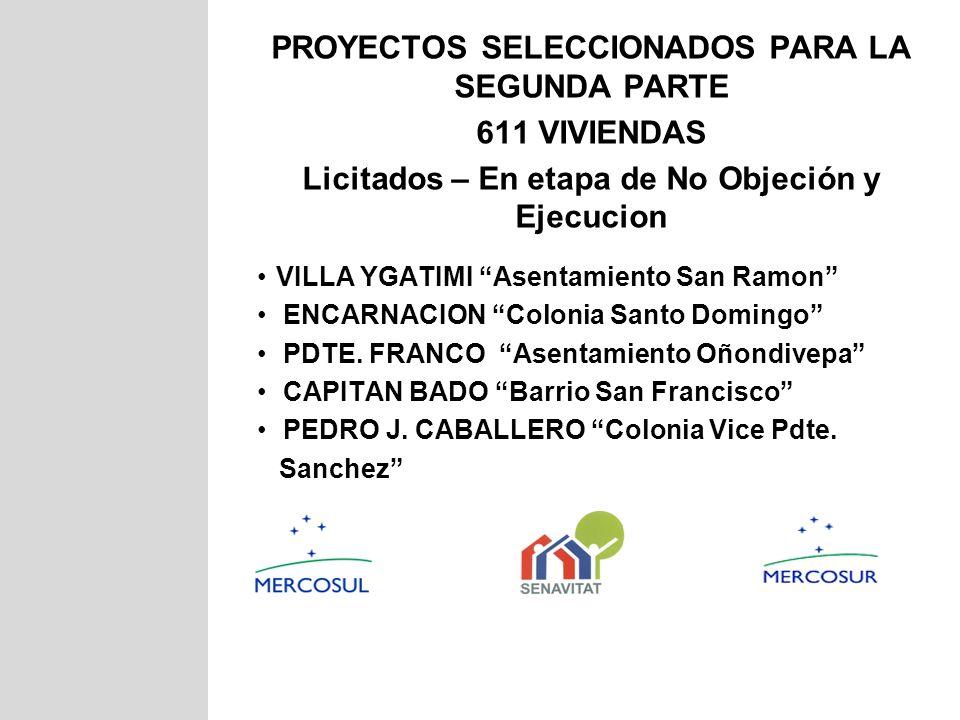 PROYECTOS SELECCIONADOS PARA LA SEGUNDA PARTE 611 VIVIENDAS