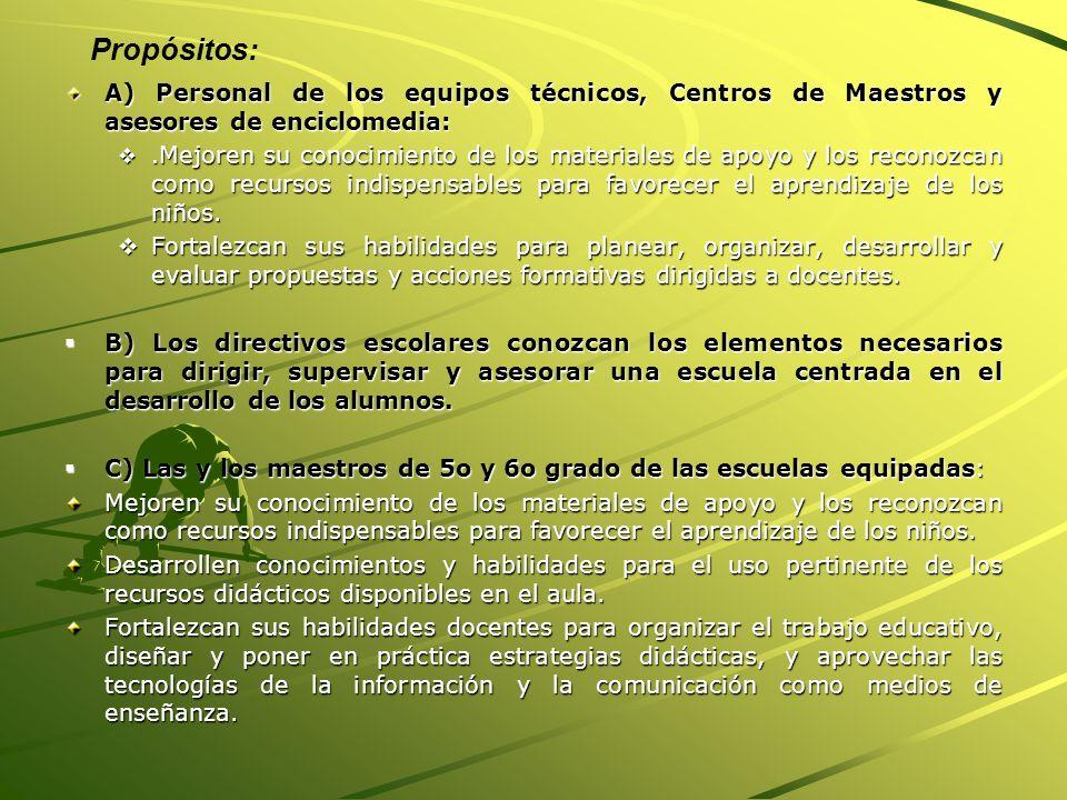 Propósitos: A) Personal de los equipos técnicos, Centros de Maestros y asesores de enciclomedia: