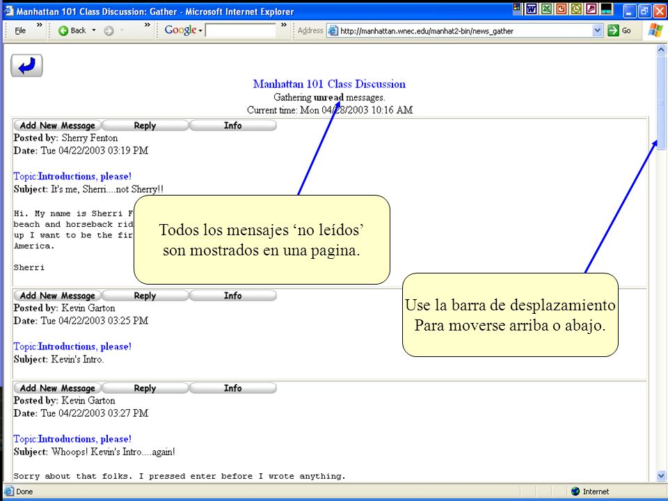 Todos los mensajes 'no leídos' son mostrados en una pagina.
