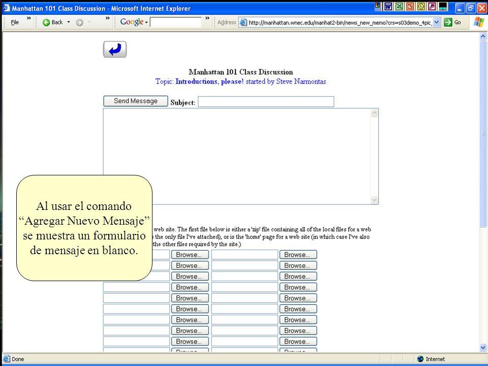 Agregar Nuevo Mensaje se muestra un formulario de mensaje en blanco.