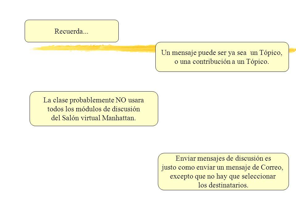 Un mensaje puede ser ya sea un Tópico, o una contribución a un Tópico.