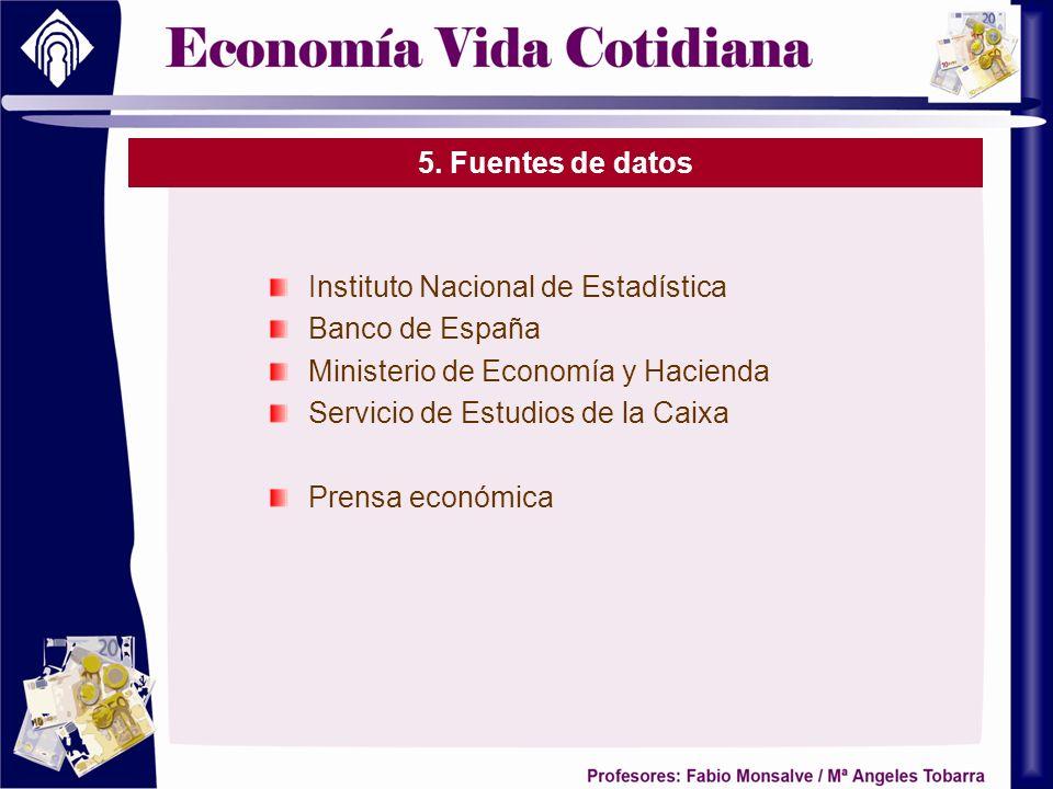 5. Fuentes de datos Instituto Nacional de Estadística. Banco de España. Ministerio de Economía y Hacienda.