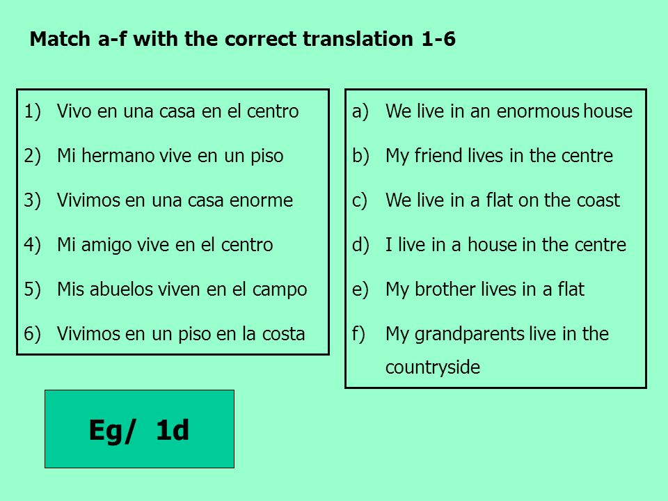 Eg/ 1d Match a-f with the correct translation 1-6