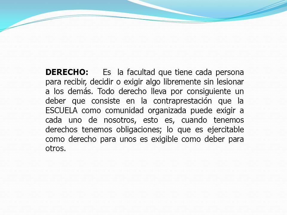 DERECHO: Es la facultad que tiene cada persona para recibir, decidir o exigir algo libremente sin lesionar a los demás.