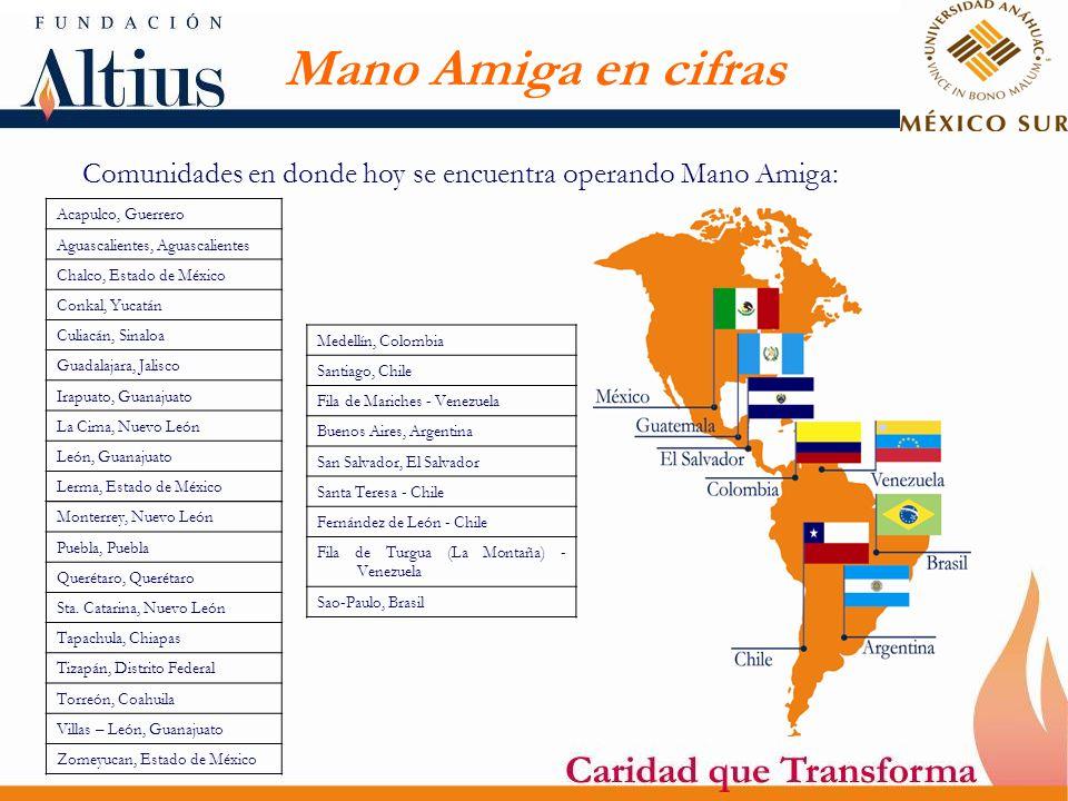 Mano Amiga en cifras Comunidades en donde hoy se encuentra operando Mano Amiga: Acapulco, Guerrero.