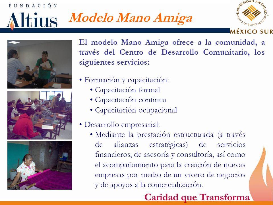 Modelo Mano Amiga El modelo Mano Amiga ofrece a la comunidad, a través del Centro de Desarrollo Comunitario, los siguientes servicios: