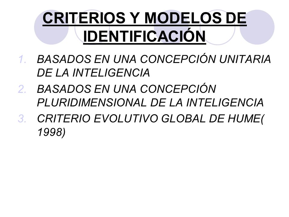 CRITERIOS Y MODELOS DE IDENTIFICACIÓN