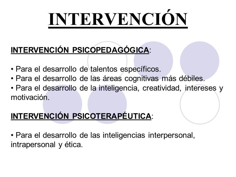INTERVENCIÓN INTERVENCIÓN PSICOPEDAGÓGICA: