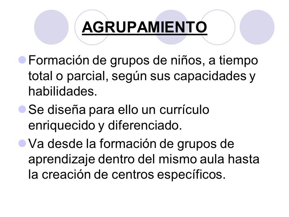 AGRUPAMIENTO Formación de grupos de niños, a tiempo total o parcial, según sus capacidades y habilidades.