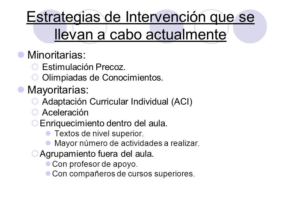 Estrategias de Intervención que se llevan a cabo actualmente
