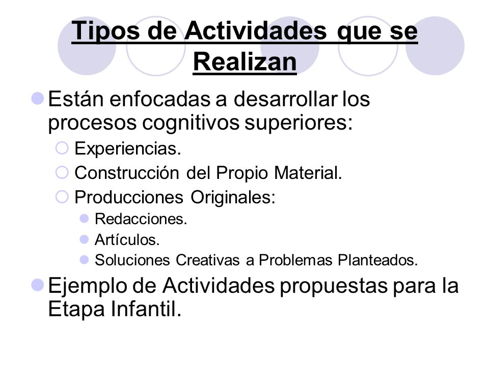 Tipos de Actividades que se Realizan