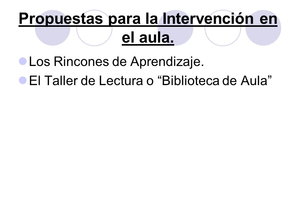 Propuestas para la Intervención en el aula.