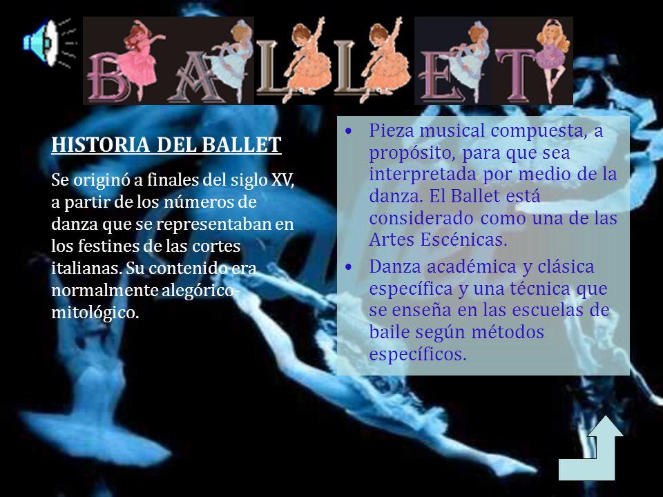 Pieza musical compuesta, a propósito, para que sea interpretada por medio de la danza. El Ballet está considerado como una de las Artes Escénicas.
