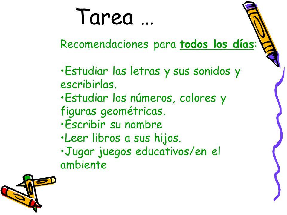 Tarea … Recomendaciones para todos los días: