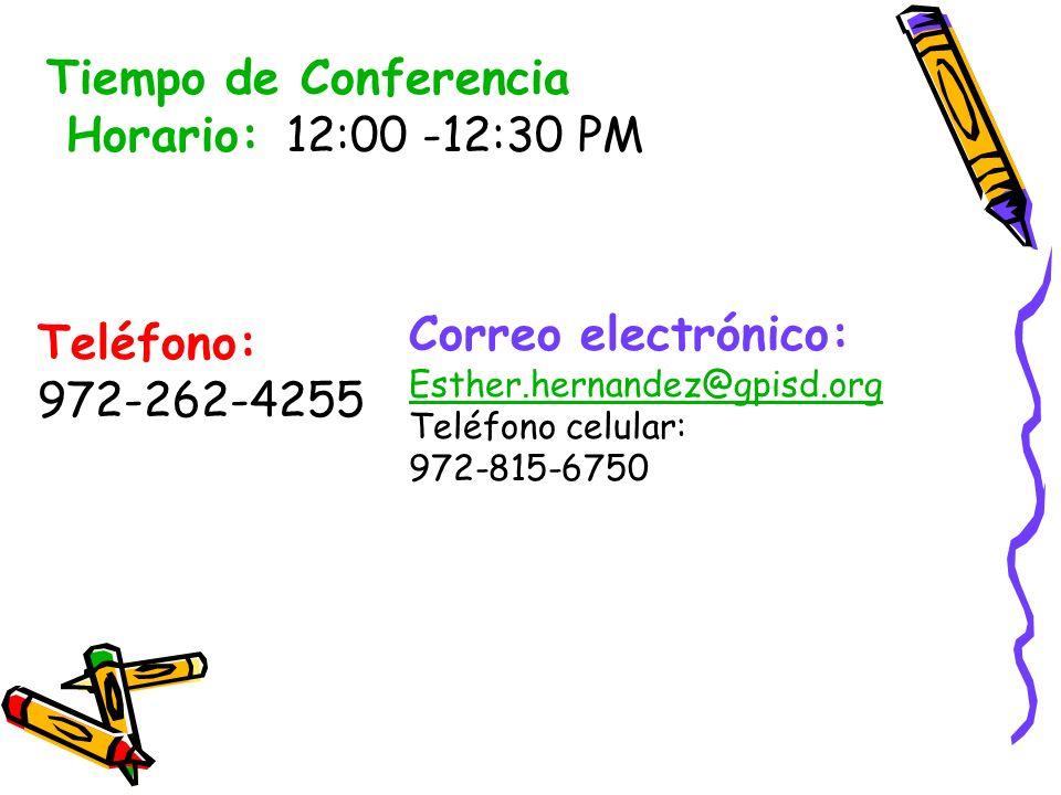 Tiempo de Conferencia Horario: 12:00 -12:30 PM Correo electrónico: