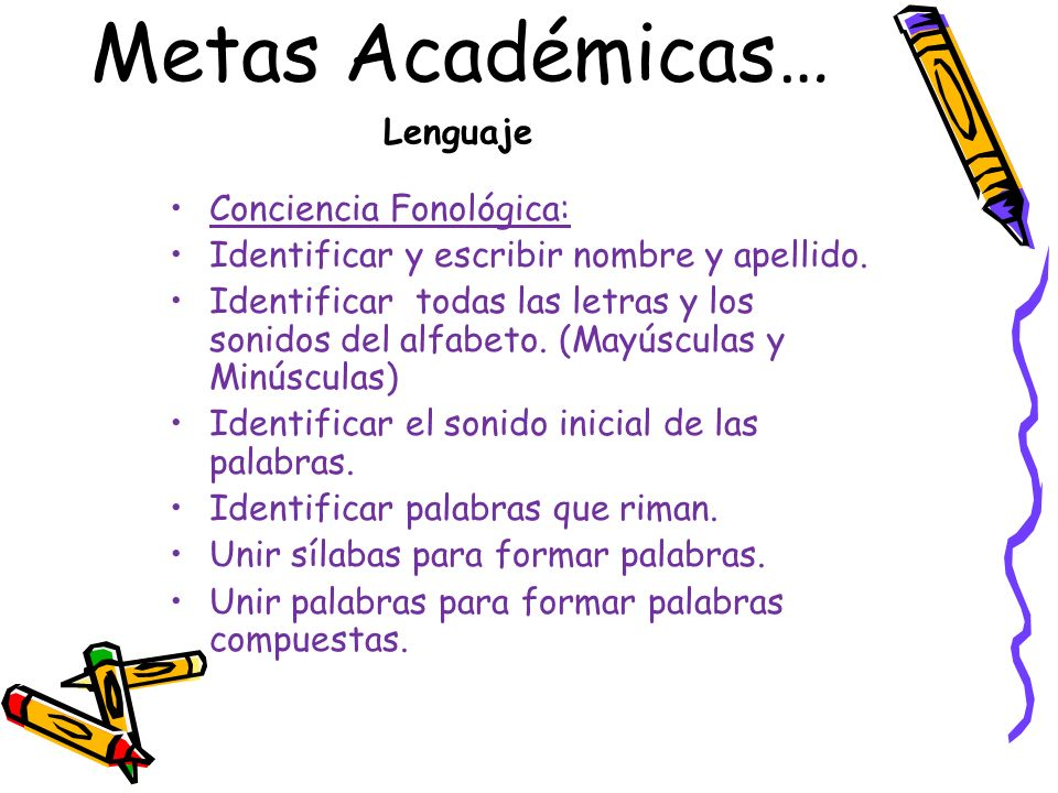 Metas Académicas… Lenguaje Conciencia Fonológica: