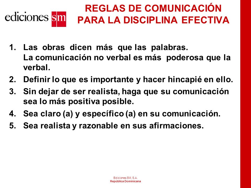 REGLAS DE COMUNICACIÓN PARA LA DISCIPLINA EFECTIVA