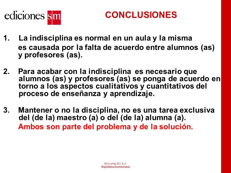CONCLUSIONES La indisciplina es normal en un aula y la misma