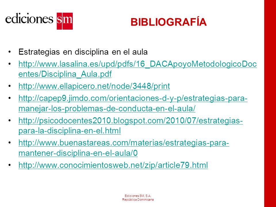 BIBLIOGRAFÍA Estrategias en disciplina en el aula