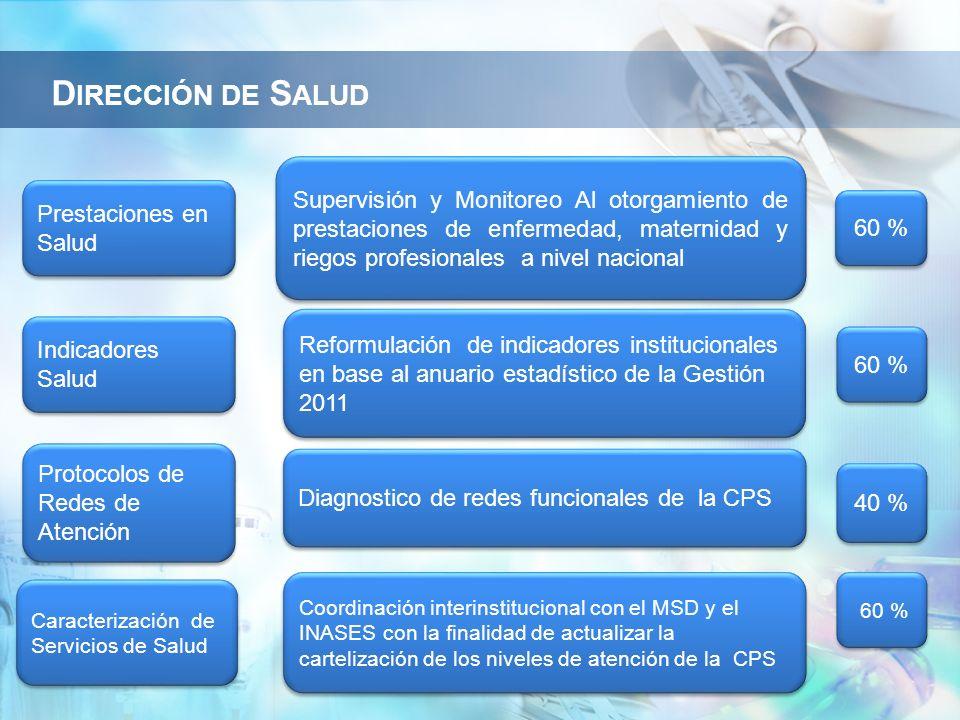 Dirección de Salud Supervisión y Monitoreo Al otorgamiento de prestaciones de enfermedad, maternidad y riegos profesionales a nivel nacional.