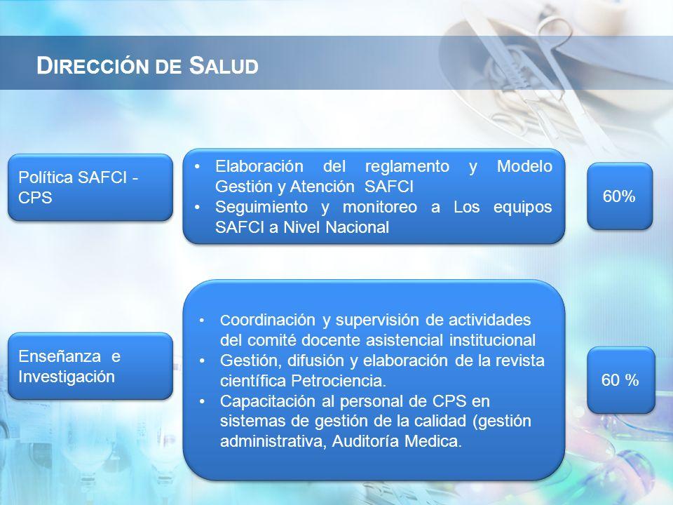 Dirección de Salud Elaboración del reglamento y Modelo Gestión y Atención SAFCI. Seguimiento y monitoreo a Los equipos SAFCI a Nivel Nacional.