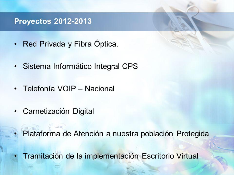 Proyectos 2012-2013 Red Privada y Fibra Óptica. Sistema Informático Integral CPS. Telefonía VOIP – Nacional.
