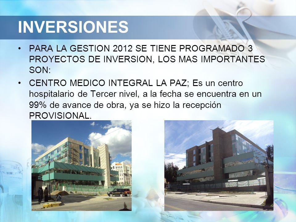 INVERSIONES PARA LA GESTION 2012 SE TIENE PROGRAMADO 3 PROYECTOS DE INVERSION, LOS MAS IMPORTANTES SON: