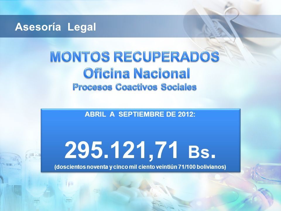 Asesoría Legal MONTOS RECUPERADOS Oficina Nacional Procesos Coactivos Sociales. ABRIL A SEPTIEMBRE DE 2012: