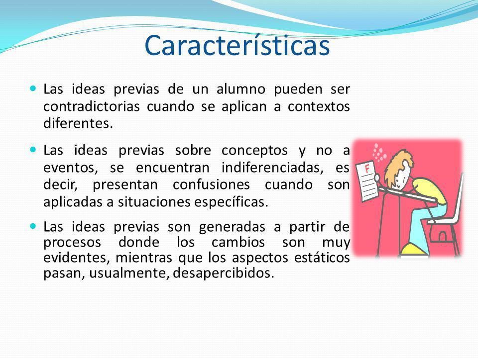 Características Las ideas previas de un alumno pueden ser contradictorias cuando se aplican a contextos diferentes.