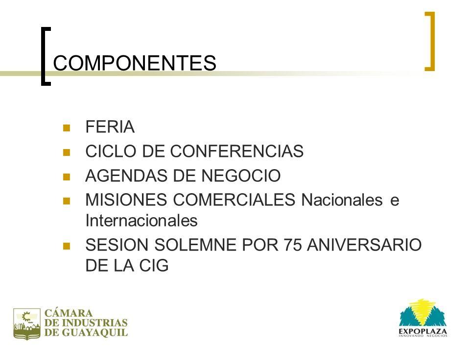 COMPONENTES FERIA CICLO DE CONFERENCIAS AGENDAS DE NEGOCIO