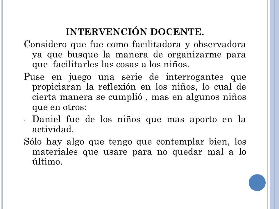 INTERVENCIÓN DOCENTE.