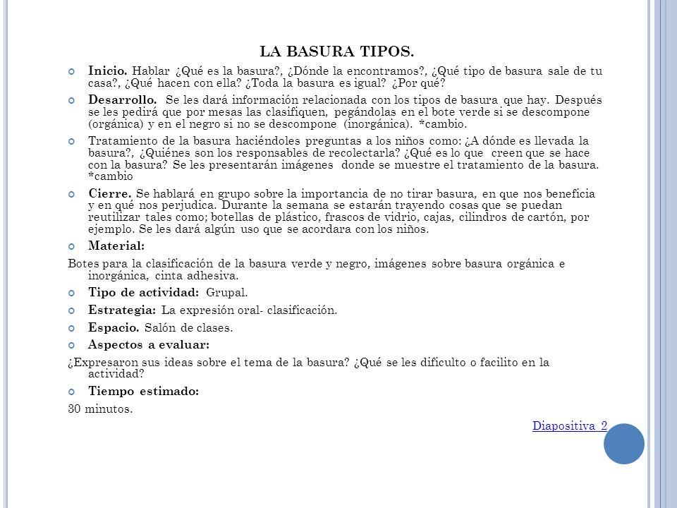 LA BASURA TIPOS.