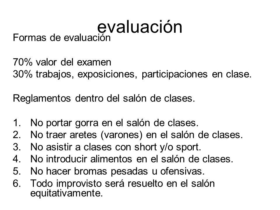 evaluación Formas de evaluación 70% valor del examen