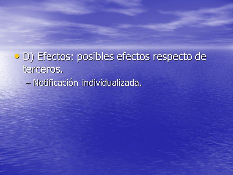 D) Efectos: posibles efectos respecto de terceros.