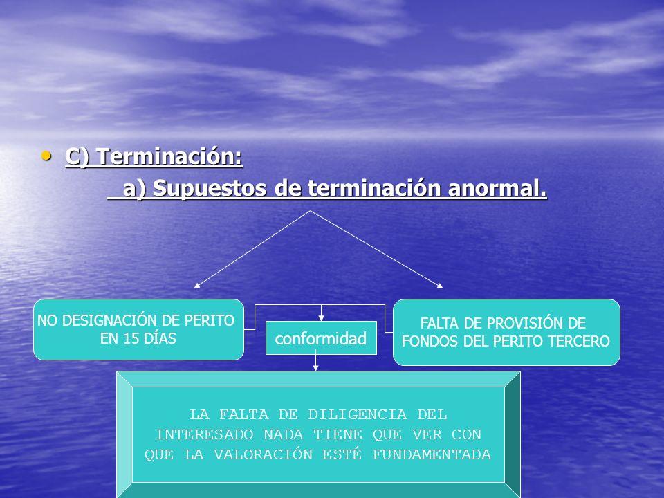 a) Supuestos de terminación anormal.