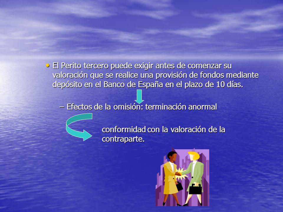 El Perito tercero puede exigir antes de comenzar su valoración que se realice una provisión de fondos mediante depósito en el Banco de España en el plazo de 10 días.