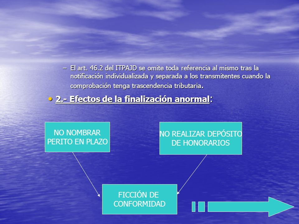 2.- Efectos de la finalización anormal: