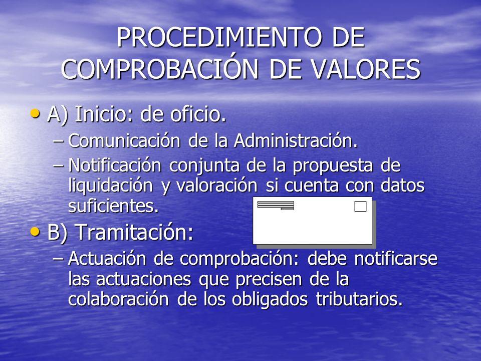PROCEDIMIENTO DE COMPROBACIÓN DE VALORES