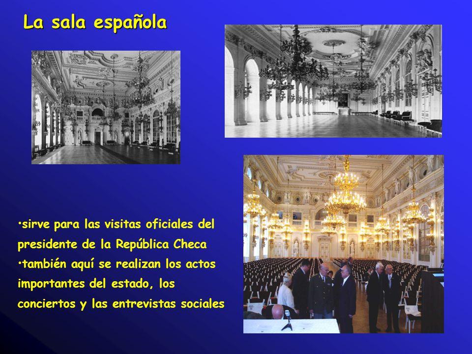 La sala española sirve para las visitas oficiales del presidente de la República Checa.