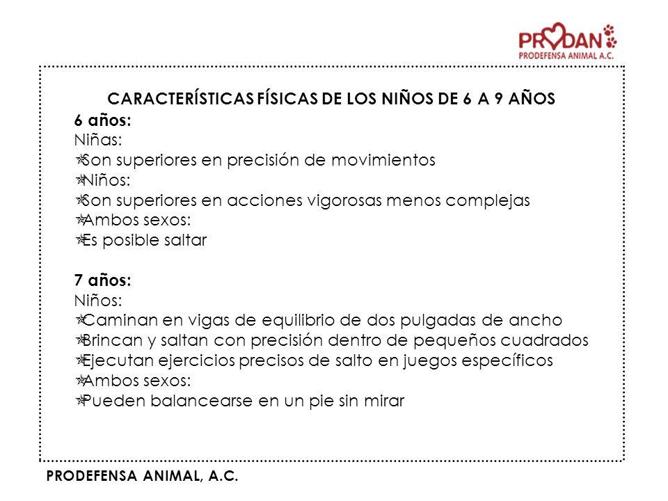 CARACTERÍSTICAS FÍSICAS DE LOS NIÑOS DE 6 A 9 AÑOS