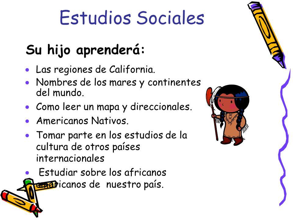 Estudios Sociales Su hijo aprenderá: Las regiones de California.