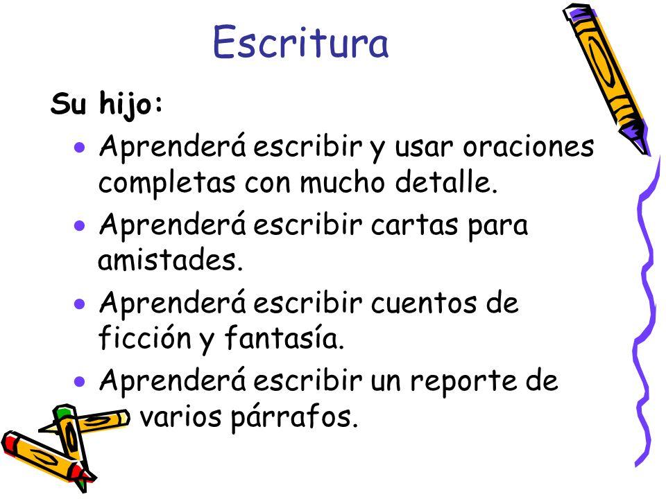 EscrituraSu hijo: Aprenderá escribir y usar oraciones completas con mucho detalle. Aprenderá escribir cartas para amistades.