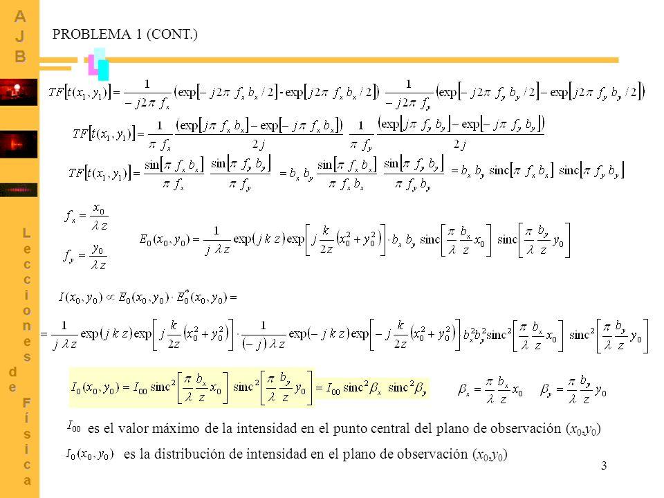 PROBLEMA 1 (CONT.) es el valor máximo de la intensidad en el punto central del plano de observación (x0,y0)