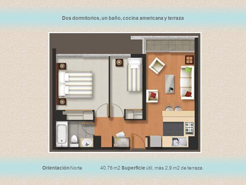 Dos dormitorios, un baño, cocina americana y terraza