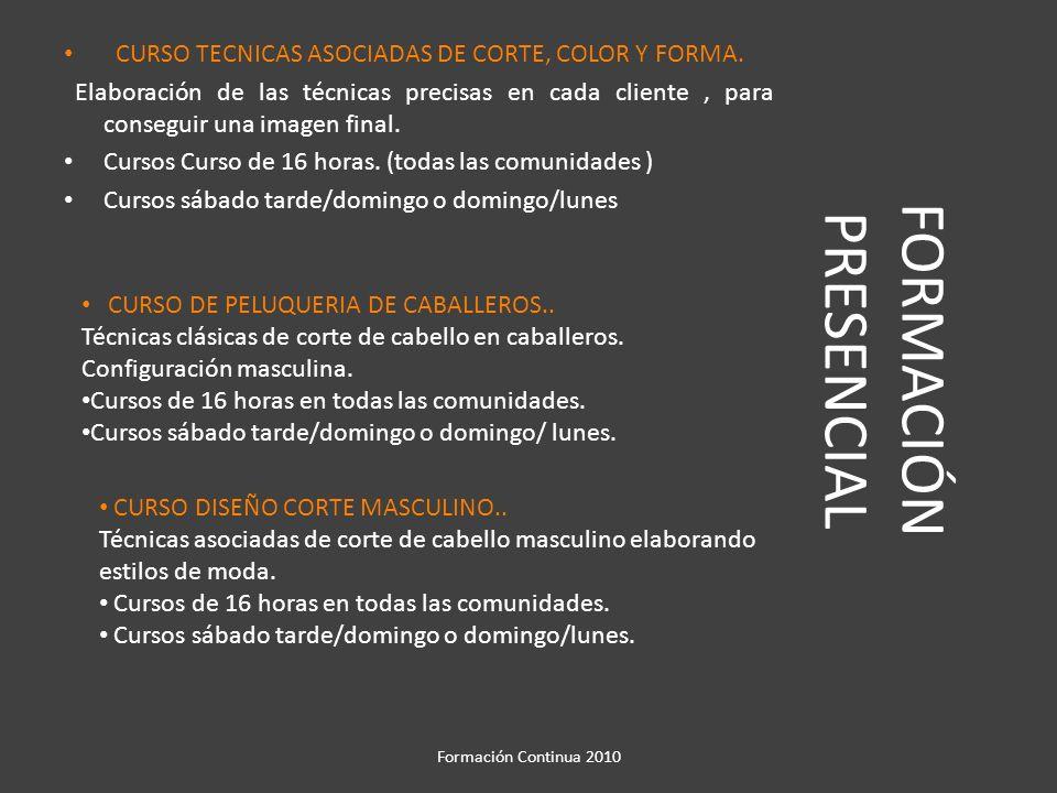 FORMACIÓN PRESENCIAL CURSO TECNICAS ASOCIADAS DE CORTE, COLOR Y FORMA.