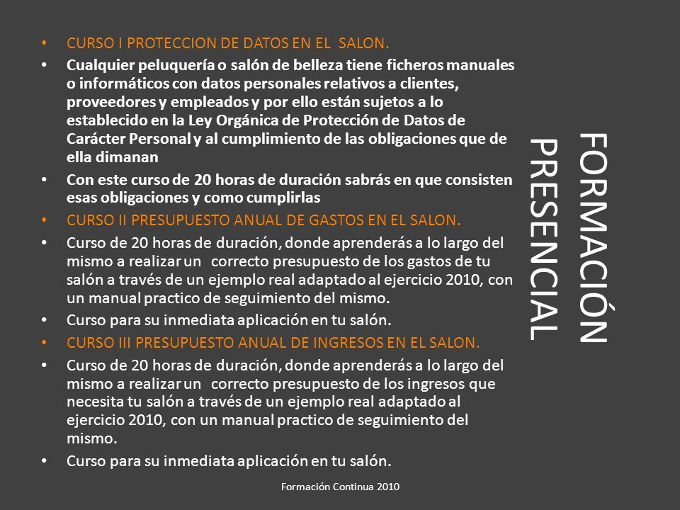 FORMACIÓN PRESENCIAL CURSO I PROTECCION DE DATOS EN EL SALON.