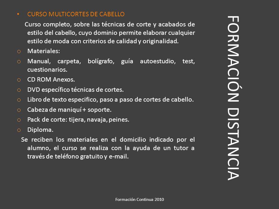 FORMACIÓN DISTANCIA CURSO MULTICORTES DE CABELLO